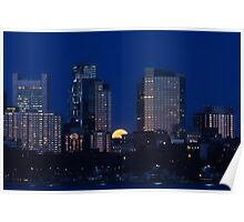 Pink moon, blue city Poster