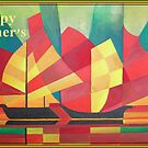 Happy Father's Day Cubist Abstract of Junk Sails and Ocean Skies by taiche