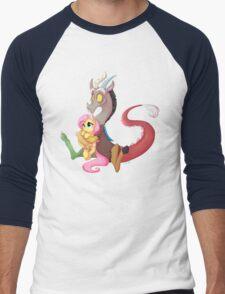 Discord and Fluttershy Cuddles Men's Baseball ¾ T-Shirt