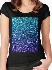 Beautiful Aqua blue Ombre glitter sparkles  Women's Fitted Scoop T-Shirt
