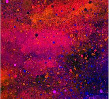 Pink, Blue and Orange Paint Splatters by bexilla