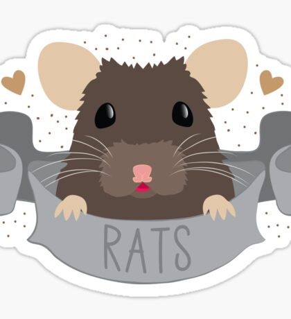 RATS with cute rat on a banner Sticker