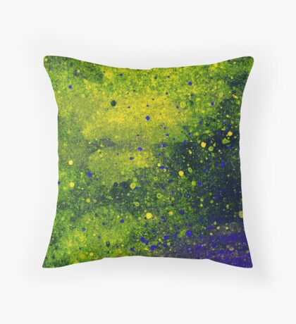 Green and Blue Paint Splatters Throw Pillow