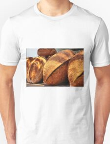 Freshly baked loaves of bread at a bakery T-Shirt