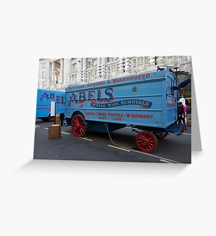 Horse drawn Abels removal lorry in Regent Street London Greeting Card