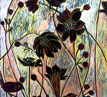 "Japanese Windflowers Woodcut  by Belinda ""BillyLee"" NYE (Printmaker)"