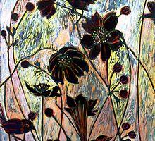 """Japanese Windflowers Woodcut  by Belinda """"BillyLee"""" NYE (Printmaker)"""