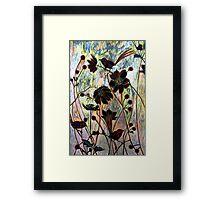 Japanese Windflowers Woodcut  Framed Print