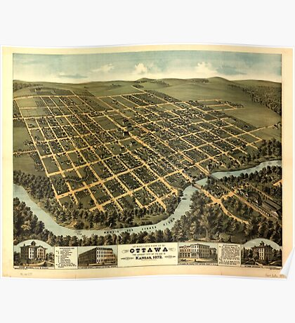 Panoramic Maps Bird's-eye view of Ottawa the largest city of its age in Kansas 1872 Poster