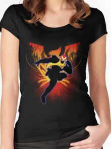 Super Smash Bros. Captain Falcon Silhouette Women's Fitted Scoop T-Shirt