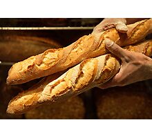 Freshly baked loaves of bread at a bakery.  Photographic Print