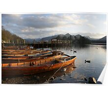 Boats by the lake - Keswick Poster