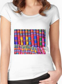 Rainbow Pattern Dye Women's Fitted Scoop T-Shirt