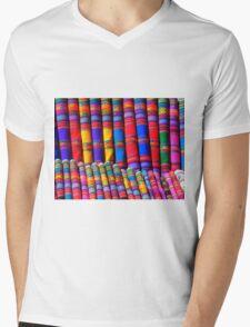 Rainbow Pattern Dye Mens V-Neck T-Shirt