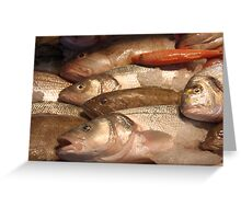Variety of Fresh Fish Seafood on Ice 2 Greeting Card