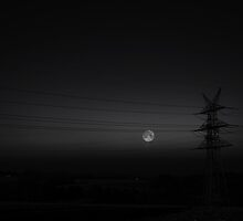 Wired Moon B/W by Denise Abé