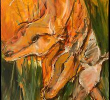 Orange Horse Heads Repeat by SHANNON BUEKER