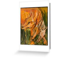 Orange Horse Heads Repeat Greeting Card