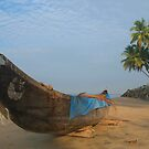Boat and Palms on Black Beach Varkala by SerenaB