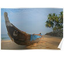 Boat and Palms on Black Beach Varkala Poster