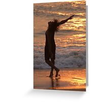 Dancing in the Surf at Sunset Greeting Card