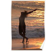 Dancing in the Surf at Sunset Poster