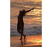 Dancing in the Surf at Sunset Photographic Print
