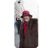 Lady in a vintage costume at the Regent Street Motor Show in London iPhone Case/Skin