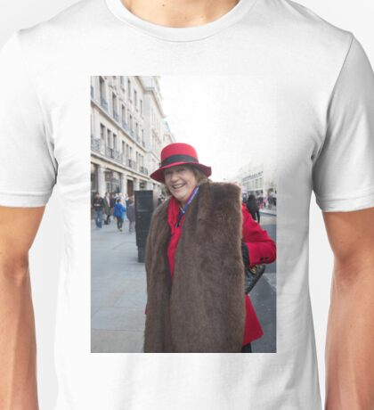 Lady in a vintage costume at the Regent Street Motor Show in London Unisex T-Shirt