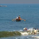 Fishermen off Black Beach Varkala by SerenaB