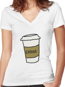 Coffee Cup Women's Fitted V-Neck T-Shirt