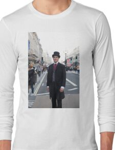 Man in a vintage costume at the Regent Street Motor Show in London Long Sleeve T-Shirt