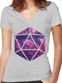 D20 Clouded Vision Women's Fitted V-Neck T-Shirt