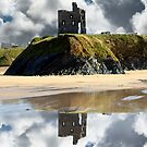 wild atlantic way castle ruins and beach by morrbyte