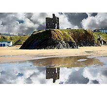 wild atlantic way castle ruins and beach Photographic Print