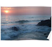 Water on the Rocks at Sunset Varkala Poster