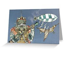 Steampunk Bird Sky Patrol Greeting Card