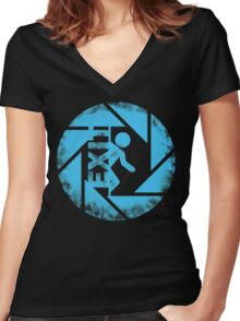BLUE EXIT  Women's Fitted V-Neck T-Shirt