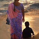 Woman in Pink and Blue Sari with Child Varkala by SerenaB