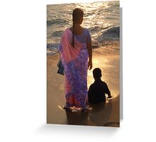 Woman in Pink and Blue Sari with Child Varkala Greeting Card