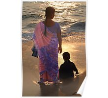 Woman in Pink and Blue Sari with Child Varkala Poster