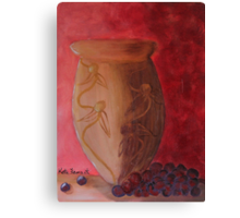 Brown vase with grapes Still Life Canvas Print