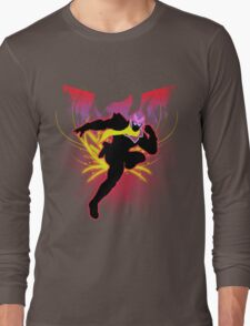 Super Smash Bros. Red Captain Falcon Sihouette Long Sleeve T-Shirt