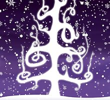 Eartheerian Christmas Tree ~ Purple Version ~ Christmas Card  by Sam Stormborn Ormandy