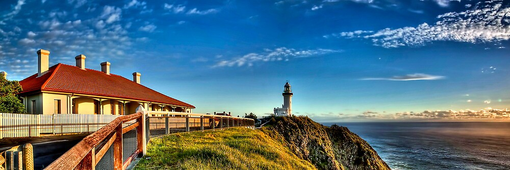 Sun kissed Lighthouse - Byron Bay by Maxwell Campbell