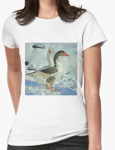 Geese in Snow - 1 Womens Fitted T-Shirt