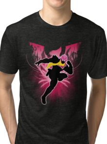 Super Smash Bros. Pink Captain Falcon Silhouette Tri-blend T-Shirt