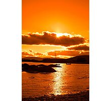 wild atlantic way ireland with an orange sunset Photographic Print