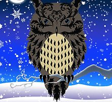 Eartheerian Baroque Brown Owl ~ Christmas Card by Sam Stormborn Ormandy