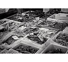 She sells sea food in the Tsukiji market stall - Japan Photographic Print